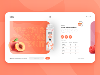 Lindahls peach and passion fruit yogurt fruit peach orange website site app gradient vector product page product ui page