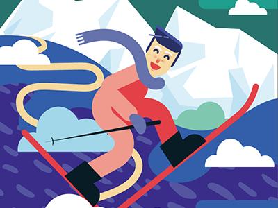 Ski in Poland design magazine editorial winter ski illustration