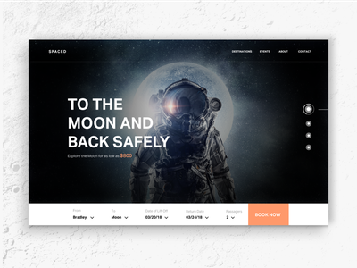 SPACED Homepage moon themoon homepage design space travel ux ui dark spacedchallenge spaced
