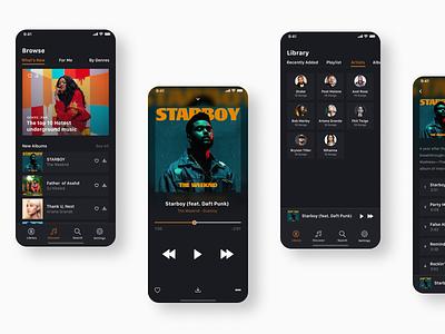 Music App dark ui art direction music app music concept app uxdesign ux typography uidesign design