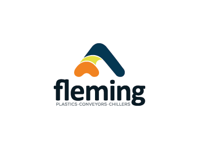 Fleming letter mark simple product conveyors chillers plastic logo