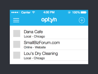 Optyn Merchant Mobile Web App
