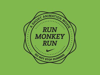 Run Monkey Run badge type crest dots nike animation rebound circles run monkey green