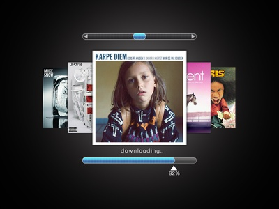 Music.. itunes music cd covers scroll downloading bar slider ios
