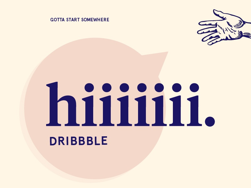Hiiiiiii Dribbble minimal pink hello bubble hand firstshot debut illustration design hellodribbble typography clean