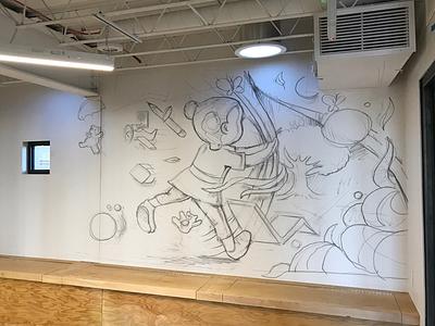 OPENair Academy Mural imagination sneak peak painting mural sketch