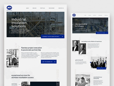 ATI blue duotone black and white website web industrial
