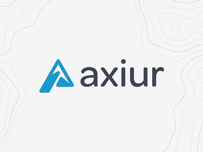 Axiur clean identity logo branding ax mountaineering blue colorado mountain