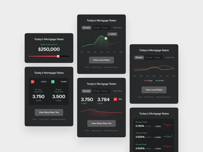 Mortgage Rates Daily Widgets olbromski design ui ux widelab mortgage loan rates widget chart graph slider flat darkmode dark modal popup module component app