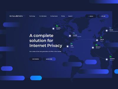 VPNs — landing page ui connections map gradient olbromski visiontrust landing web vpns vpn