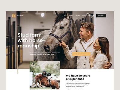 Stud farm with horse-manship — Website theme web ui design visiontrust olbromski page landing website horses horse farm stud