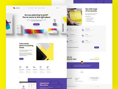 Printing House — Website mockup branding stationery yellow violet colorful house printing print typography minimalist web ui design visiontrust olbromski