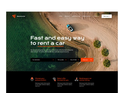 Car rental — Website ui gray white black orange wp theme landing website web design olbromski minimalist visiontrust trip road vehicle rental car