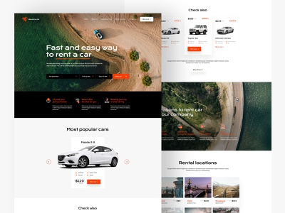 Car rental — Website car rental vehicle road trip visiontrust minimalist olbromski design web website landing theme wp orange black white gray ui