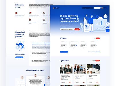 Eventis.pl — Website navy blue workshop conferences events illustration gradient website landing web ui design visiontrust olbromski