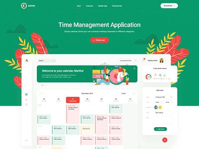 Azmo — landing page dashbaord flat app management time tracking illustration website landing minimalist web ui design visiontrust olbromski