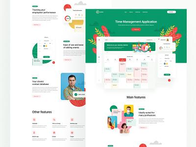Azmo — landing page flat dashboard tracking red green app managment time website landing illustration minimalist web ui design visiontrust olbromski
