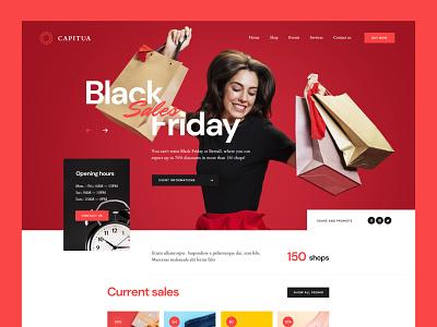 Capitua Mall — Hero shops shopping shop mall friday black sale sales red website landing minimalist web ui design visiontrust olbromski