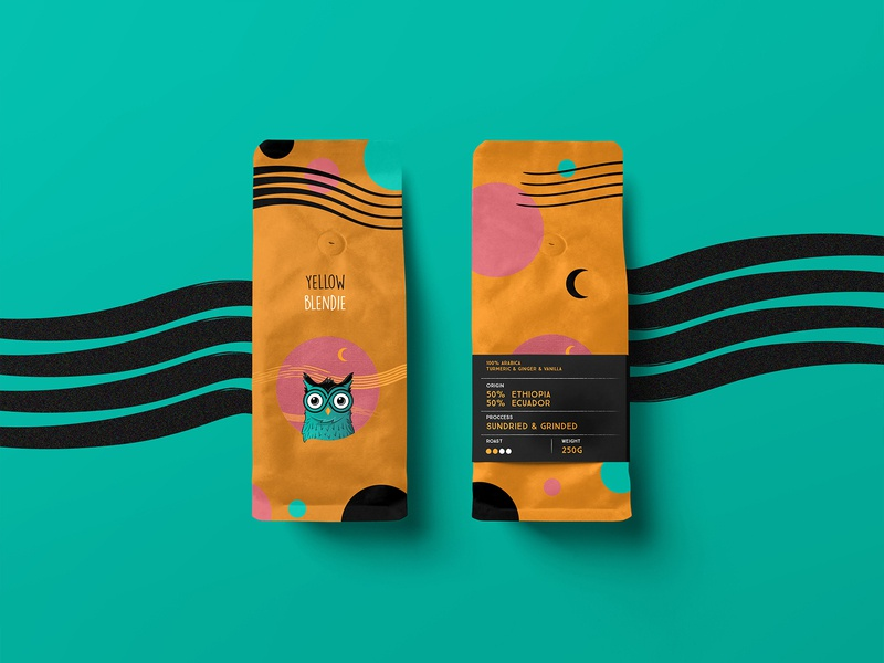 Owlie Yellow Coffee Packaging vector owl design branding logo illustration coffee product design yellow product packaging mockup coffee packaging packaging design coffee blend packaging