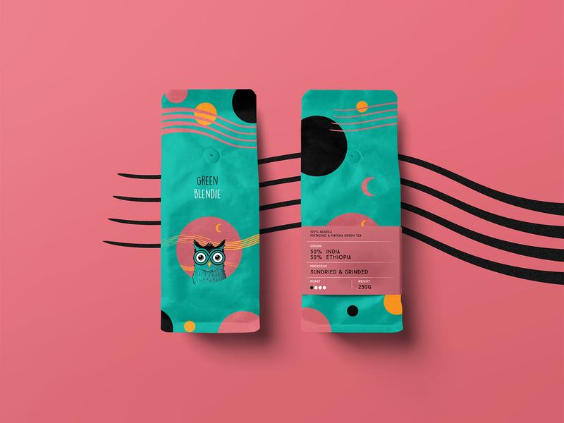 Owlie Green Coffee Packaging character design design coffee logo packaging mockup product design branding vector owl illustration packaging