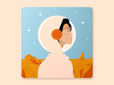 Women's History Month - First woman in space face design illustration award winning women in illustration women empowerment space girl portrait girl illustration girl character cosmonaut astronaut vector girl illustration art illustrated