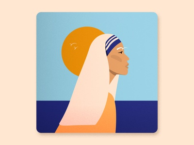 Women's History Month - Mother Teresa digital artwork 2d illustration award winning creative design artist illustrated girl digital illustration talenthouse vector illustration digital art woman girl portrait sun birds saint teresa mother