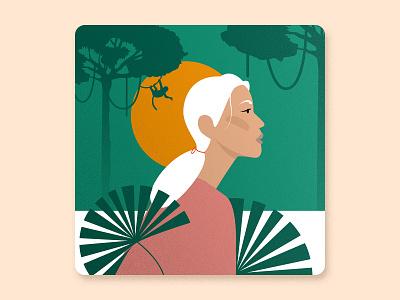 KeeMun Women's History Month - Jane Goodall digital illustration award winning jungle forest monkey chimpanzee women in illustration women empowerment woman portrait woman girl character girl illustration nature girl design vector illustration
