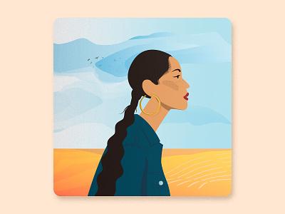 Women's History Month - Sade Adu design vectorized illustrated famous people clouds sky landscape award winning illustrator digital illustration portrait illustration woman portrait woman girl singer sade vector illustration