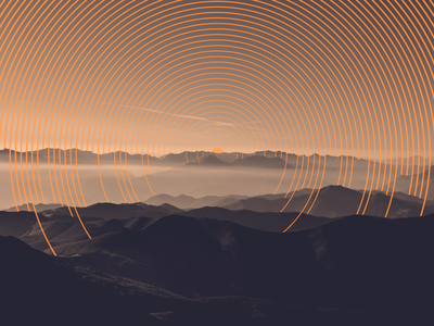 Sunset view top imaginery mountains art visuals lines illustration photography landscape sunset