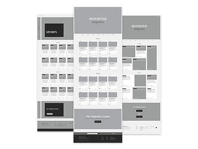 Reporter Wireframes | Website Redesign magazine reporter web-design website redesign
