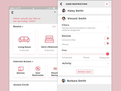 Control Internet Access - Nest Smarthome App internet smarthome security interaction uiux nest