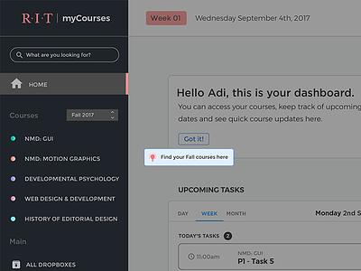 myCourses - Contextual tips ui tips student mycourses