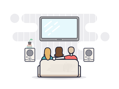 Movies... better with friends invite ios television living room couch people flat illustration watching tv movie