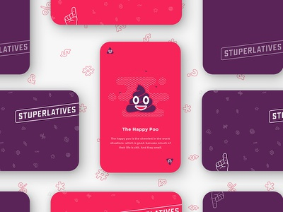 Stuperlatives Cards identity brand vibrant nsfw poo emoji playing card game card illustration