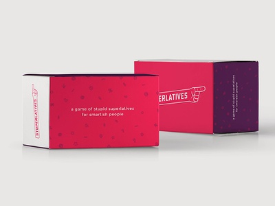 Stuperlatives Packaging carton box logo identity brand college varsity color cards game packaging