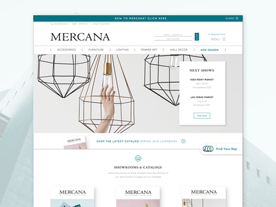 Mercana Landing Page wholesale e-commerce furniture home furnishings home decor splash page webdesign homepage landing page