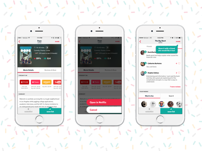 A Reelgood Movie Details Page iphone app content movies ui ios colorful