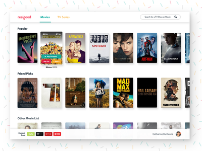 A Reelgood Web App party friendly web design content streaming tv shows movies web app