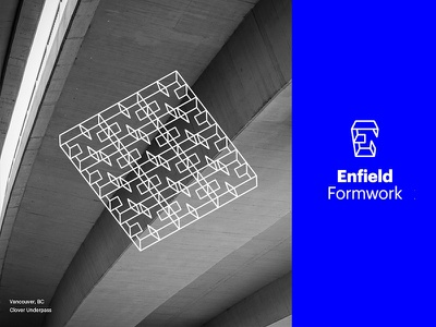 Enfield Brand Identity contract geometry blue graphik word mark logo form concrete construction identity brand
