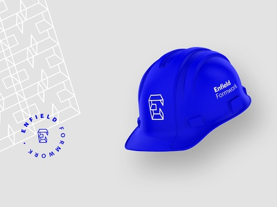 Enfield Hard Hats contract geometry blue graphik word mark logo form concrete construction identity brand