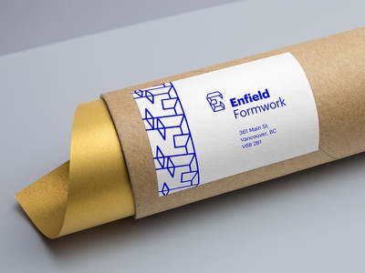 Enfield Mailing Tube contract geometry blue graphik word mark logo form concrete construction identity brand