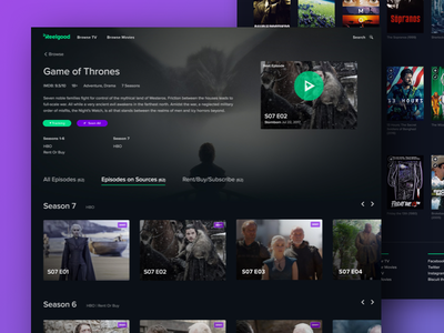 Reelgood.com game of thrones ui product design video streaming tv movies app web