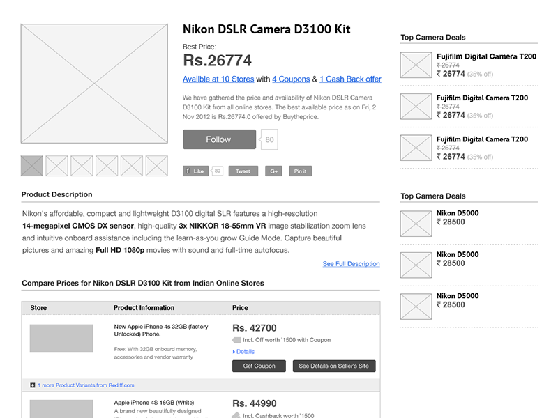 Product Page Wireframe product wireframe information architecture ia ux ui ecommerce table stores shoppingwish list store list