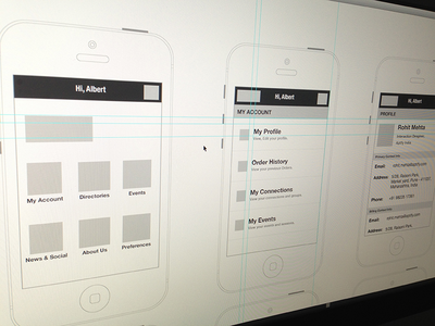 App for Groups/Organisation/Associations product wireframe information architecture ia ux ui mobile iphone ios blueprint