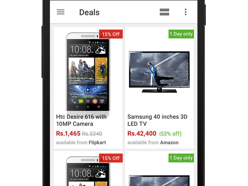 Deals Grid list product ecommerce app grid ux ui android