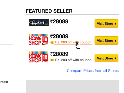 Featured Seller ecommerce price comparison product product page buttons listing featured