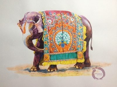 Decorated Indian Elephant water color