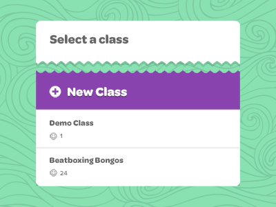 Select Class button background pattern doodle modal overlay page purple add create icon dropdown