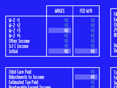 Taxes program circa 1993 white blue unix taxes select grid bitmap pixel bitmap font pixel font vintage retro