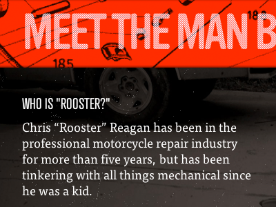 """Who is """"Rooster?"""" motorcycle typography illustration"""